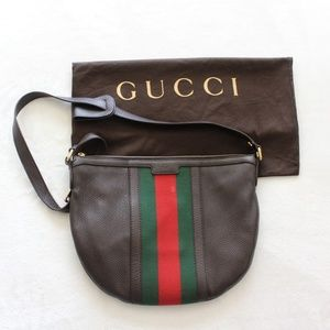 Women's Gucci Brown Pebbled Leather Web Saddle